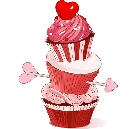 バレンタインのカップケーキのピラミッド  イラスト・ベクター素材