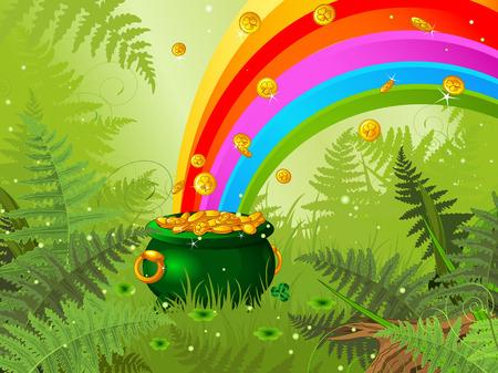 Pot vol gouden munten en de regenboog op lente weide