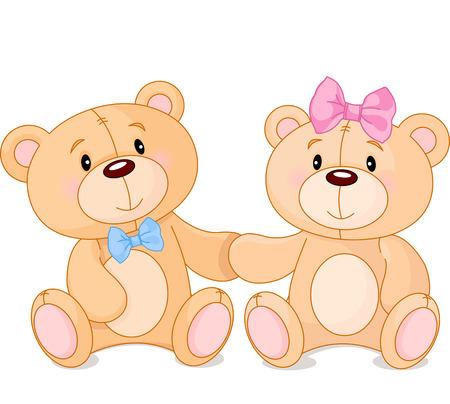 Dos osos de peluche lindo en el amor Vectores