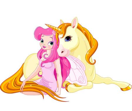 unicorn: Illustration of Fairy and Unicorn