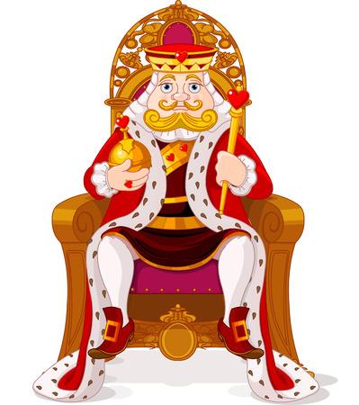 corona rey: Rey sentado en el trono