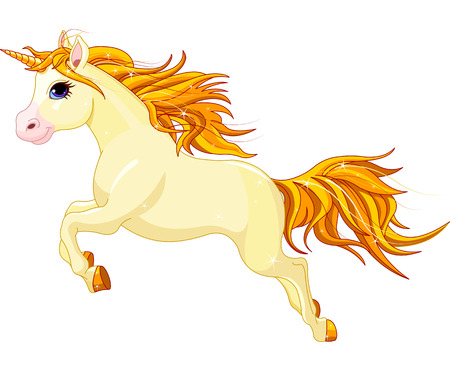 Illustration of running beautiful unicorn Vector
