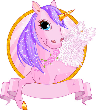 Illustration of beautiful unicorn sign Reklamní fotografie - 26016830