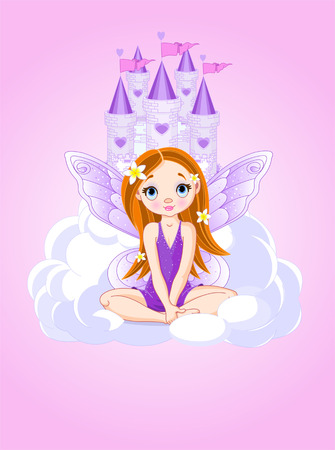 fairy cartoon: Cute violet little fairy a Fairy Tale Castle.