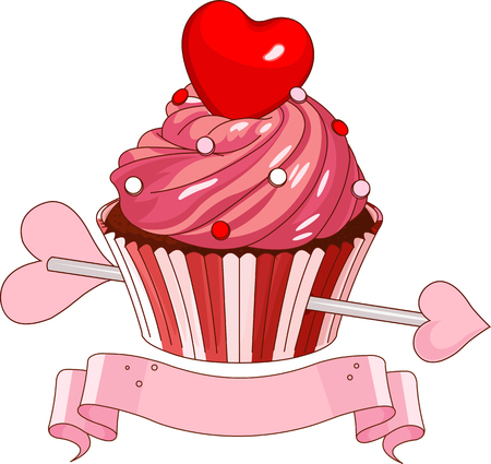 Valentine cupcake with heart on the top Vector