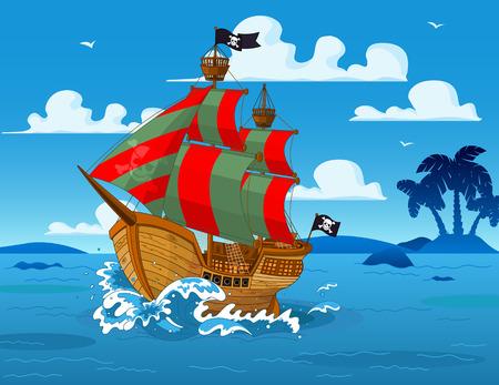 海賊船海を帆します。  イラスト・ベクター素材