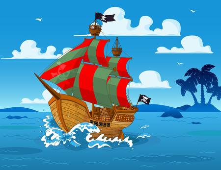 Pirate ship sails the seas Vector