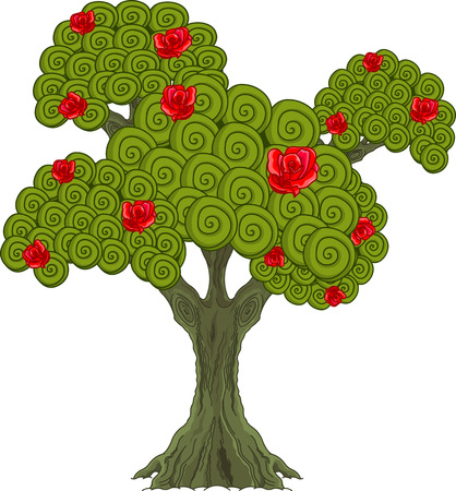 Illustration of Wonderland rose tree  Vector