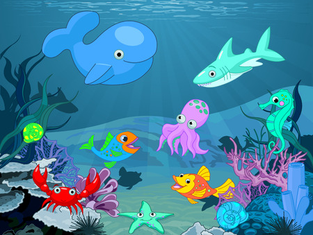 aquatic plant: Illustration background of an underwater life
