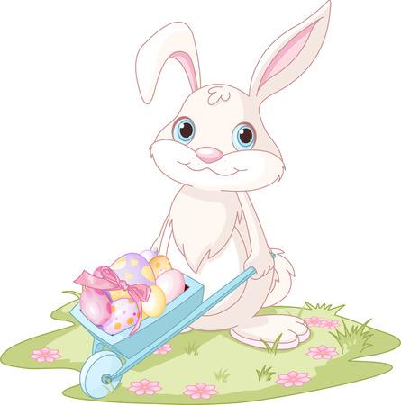 Coniglietto di Pasqua con la carriola piena di uova