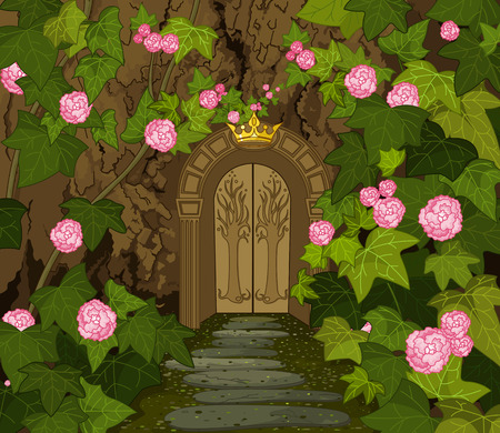 miracle tree: The tree trunk with gates to the Magic Elves Castle