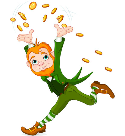 Cute running Leprechaun throwing gold coins into the air
