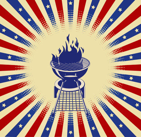 Patriotic radial barbeque background with place for your text Vector
