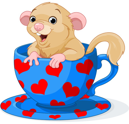 Cute dormouse sitting in a teacup Vector