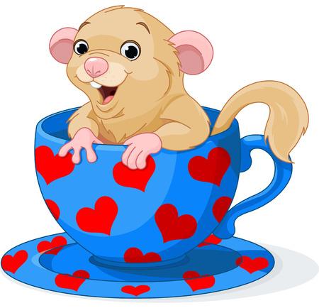 Cute dormouse sitting in a teacup