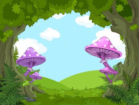 Paysage d'imagination avec des champignons et des arbres