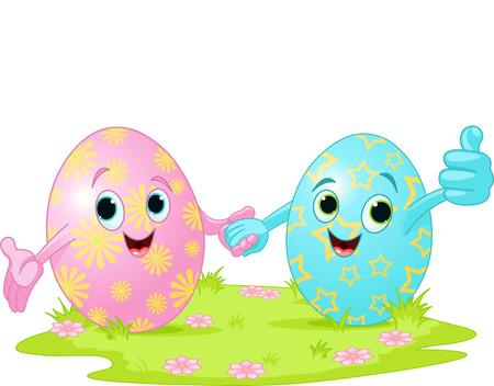두 귀여운 부활절 달걀 손을 잡고