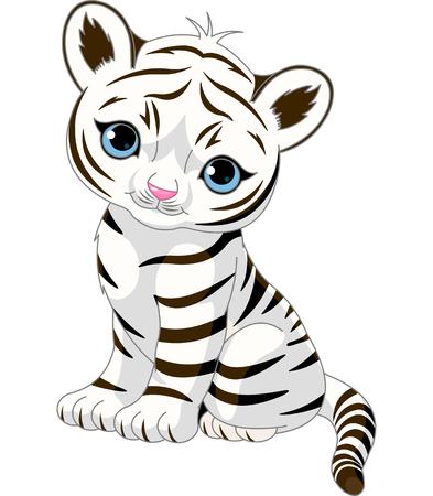 흰색 호랑이 새끼 앉아 귀여운 캐릭터. 일러스트