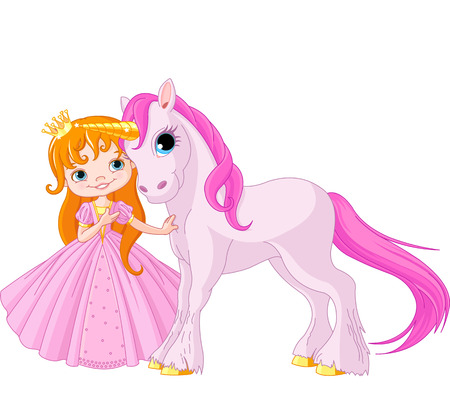 Horses:  The beautiful princess and cute unicorn Illustration