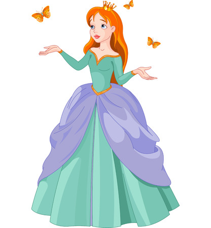 tales:  Illustration of Princess with butterflies