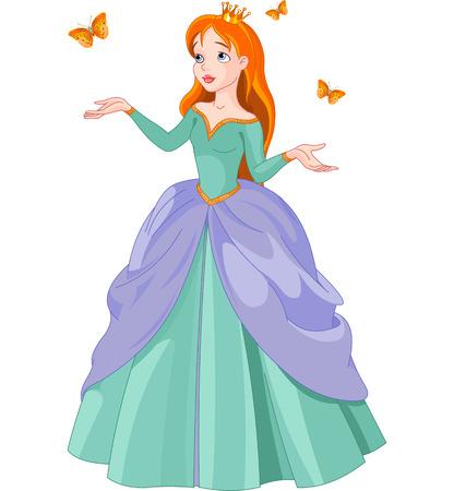 hadas caricatura: Ilustraci�n de la princesa con mariposas Vectores