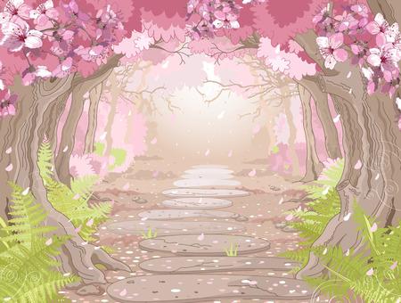 cherry: Magic spring forest landscape