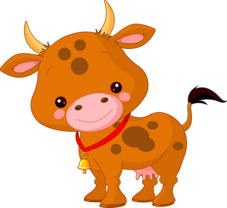 Farm animals. Illustration of cute Cow