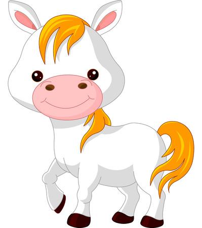 Farm animals. Illustration of cute Horse Vector