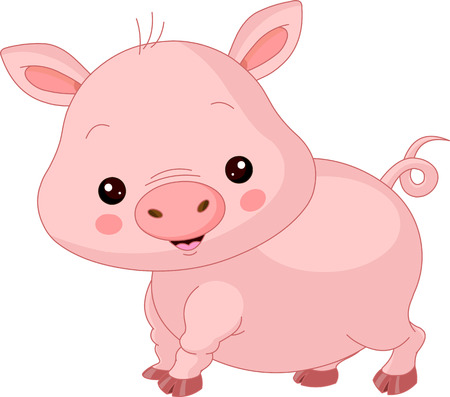 young pig:  Farm animals. Illustration of cute Pig  Illustration