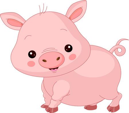cerdo caricatura: Los animales de granja. Ilustración de lindo del cerdo