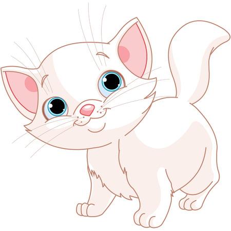 Illustration of adorable white kitten  Vector