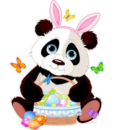 oso panda: Cute Panda Pascua con canasta llena de huevos