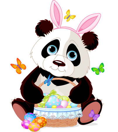 Cute Easter Panda holding basket full of eggs Illustration