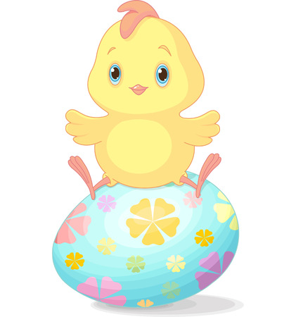 Cute chick sitting on Easter egg  Vector