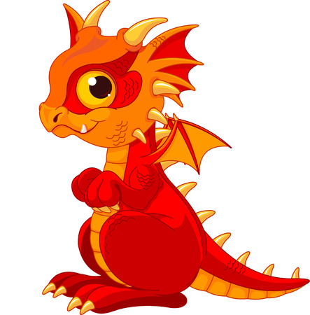 dragon cartoon:   Illustration of cute cartoon baby dragon  Illustration