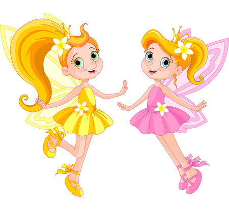 Illustration of two cute fairies in fly Illustration