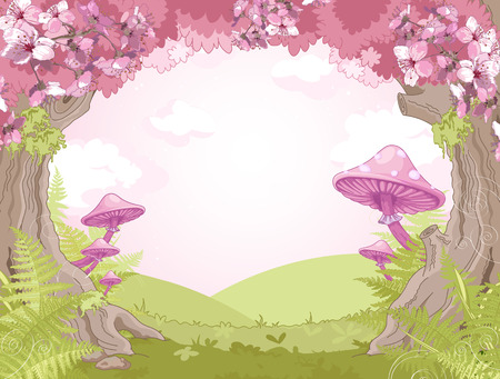fairytale background: Fantasy landscape with mushrooms and trees Illustration