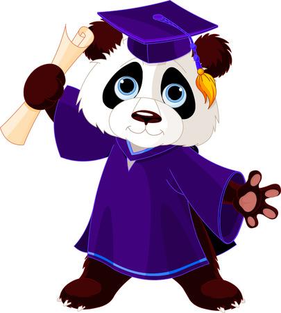 Illustration of cute panda graduates