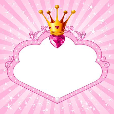 heart with crown: Lovely princess pink frame. Perfect for beautiful girls Illustration
