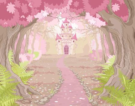 prinzessin: Fantasielandschaft mit magischen Märchenprinzessin Schloss Illustration