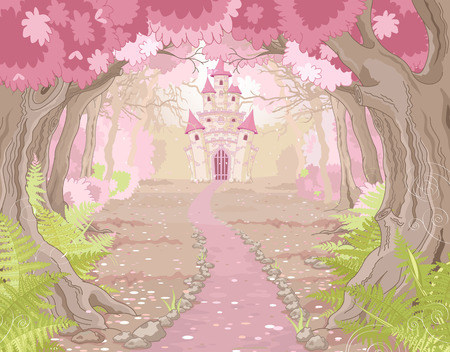 fairy princess: Fantasy landscape with magic fairy tale princess castle