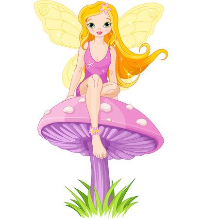 Cute  fairy elf sitting on mushroom  Illusztráció