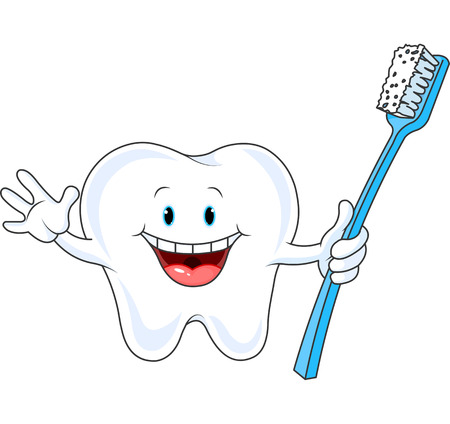 Cartoon Tooth Character holding toothbrush Vector