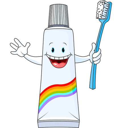 Cartoon Toothpaste Character holding toothbrush Vector