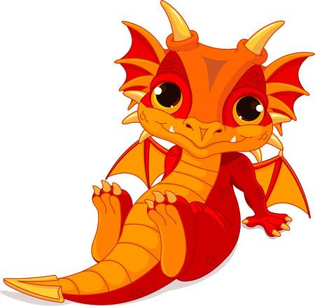 Cute cartoon baby dragon   イラスト・ベクター素材