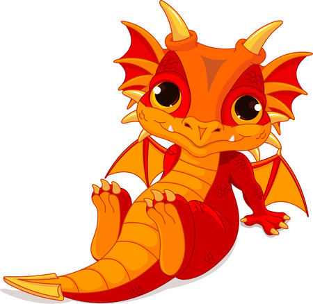 Cute cartoon baby dragon  Vectores