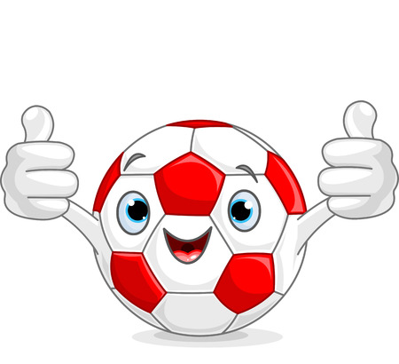 Soccer football character gives thumbs up Vector