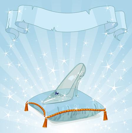 Fondo brillante con la zapatilla de cristal de Cenicienta en la almohada azul