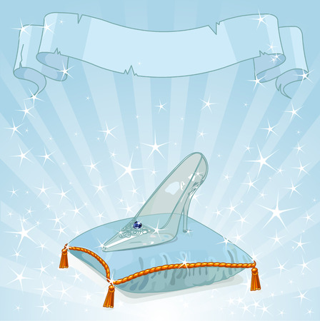 Shiny background with Crystal Cinderella's slipper on blue pillow Vector