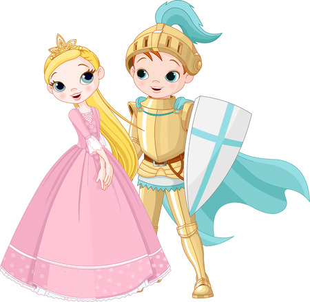 A cartoon illustration of a knight and a princess